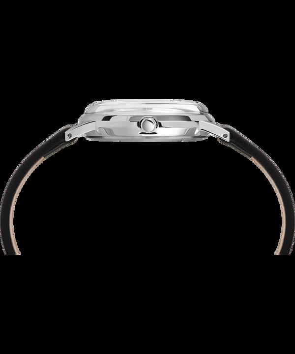 Zegarek Timex x Peanuts wyłącznie dla Todda Snydera z 34mm kopertą i skórzanym paskiem Stal nierdzewna/Czarny/Biały large