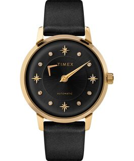 Celestial Opulence Automatic 38mm Textured Strap Watch Gold-Tone/Black large