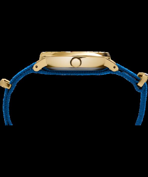 Zegarek Fairfield Crystal z kopertą 37 mm i paskiem materiałowym Gold-Tone/Blue/Cream large