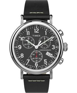 Standard Chronograph 41mm Leather Strap Watch Silver-Tone/Black/Black large