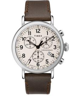 Zegarek Standard Chronograph z kopertą 40 mm i skórzanym paskiem  Srebrny/Brązowy/Kremowy large
