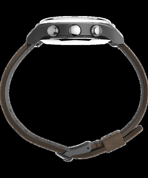 MK1™ Steel Chronograph 42mm Leather Strap Watch Gunmetal/Brown/Blue large