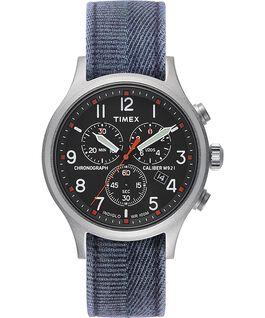 Zegarek Allied Chronograph z kopertą 42 mm i paskiem z dekatyzowanego materiału Srebrny/Niebieski/Czarny large