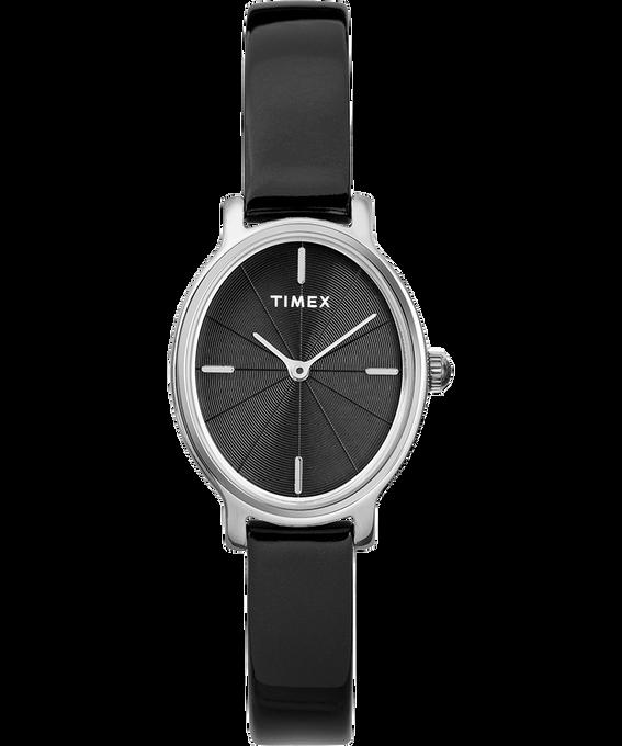 Zegarek Milano Oval z kopertą 24 mm i paskiem z lakierowanej skóry W kolorze srebra/Czarny large