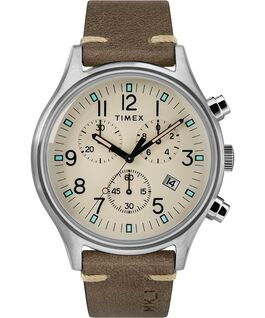 MK1 Chronograph Steel 42mm Leather Strap Watch Silver-Tone/Brown/Natural large