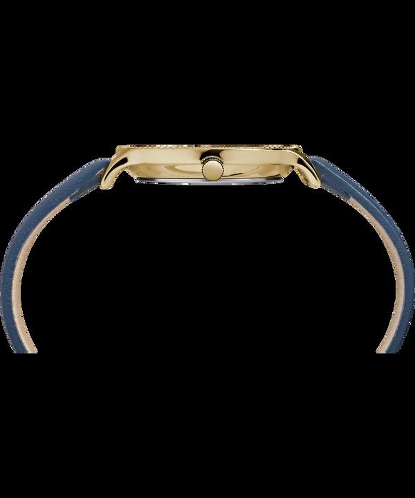 Zegarek Metropolitan z kopertą 34 mm i skórzanym paskiem Gold-Tone/Blue large