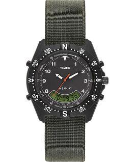 Zegarek NSN-1K z kopertą 39 mm i paskiem z elastycznego materiału Czarny/Zielony large