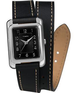 Zegarek Addison Double-Wrap 25 mm z paskiem skórzanym Chromowanyowy/Czarny large