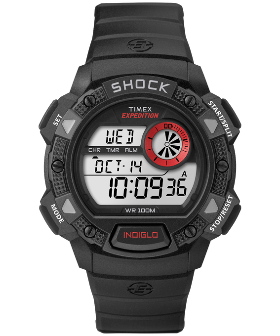 Expedition Base Shock 45mm Resin Strap Watch Black/Red large