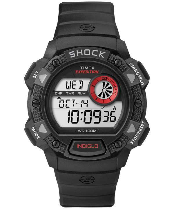 Zegarek Expedition Base Shock z kopertą 45 mm i paskiem z gumożywicy Black/Red large