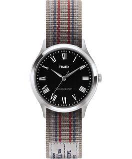 Zegarek Whitney Avenue z kopertą 36 mm i dwustronnym paskiem z grogramu-1 Stal nierdzewna/Czarny large