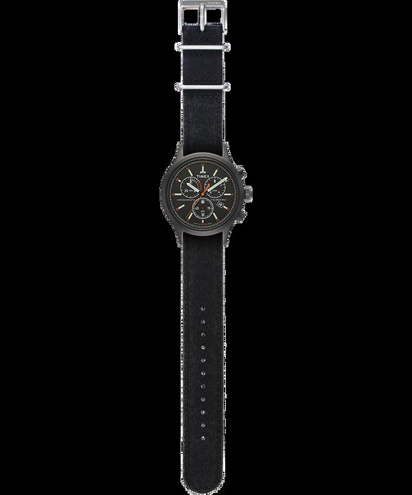 Zegarek Allied Chronograph z kopertą 42 mm i paskiem z dekatyzowanego denimu Czarny large