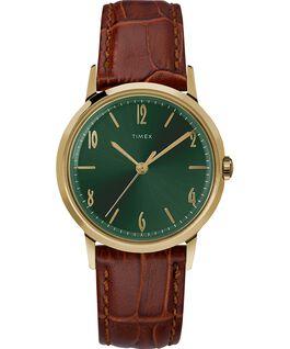 Zegarek Marlin z kopertą 34 mm i skórzanym paskiem, ręcznie nakręcany Gold-Tone/Brown/Green large