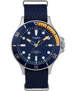 Zegarek Allied Coastline z kopertą 43 mm, obrotowym pierścieniem i materiałowym paskiem Silver-Tone/Blue large