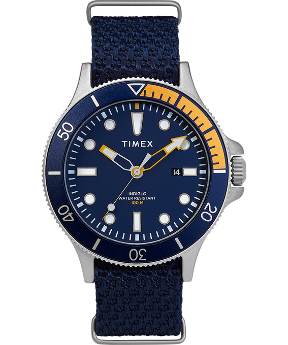 Allied Coastline 43mm with Rotating Bezel Silicone Strap Watch Silver-Tone/Blue large