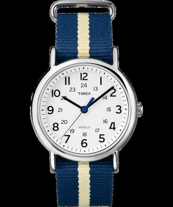 Zegarek Weekender z kopertą 38 mm i nylonowym paskiem Silver-Tone/Blue/White large