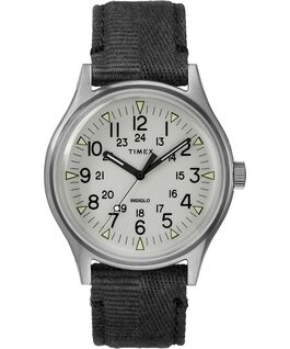 Zegarek MK1 ze stalową kopertą 40 mm i paskiem materiałowym Stalowy/Czarny/Szary large