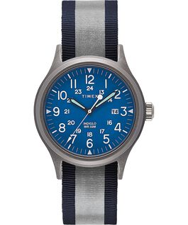 Zegarek Allied z kopertą 40 mm i dwustronnym paskiem materiałowym z detalem odblaskowym Srebrny/Niebieski large
