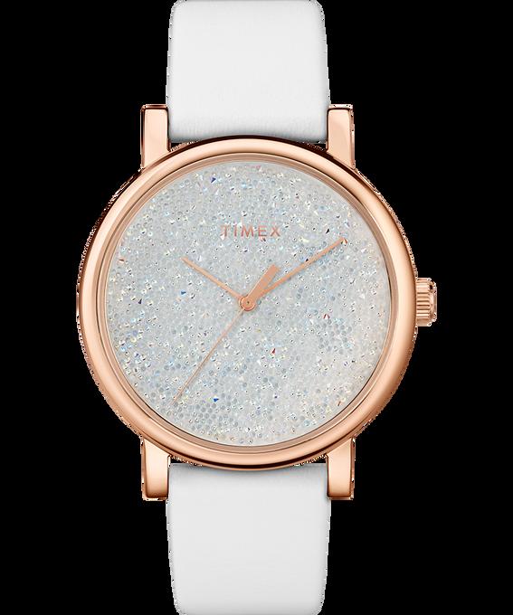 Zegarek Crystal Opulence z kopertą 38 mm, tarczą z kryształkami Swarovski oraz skórzanym paskiem W kolorze złota/Biały large