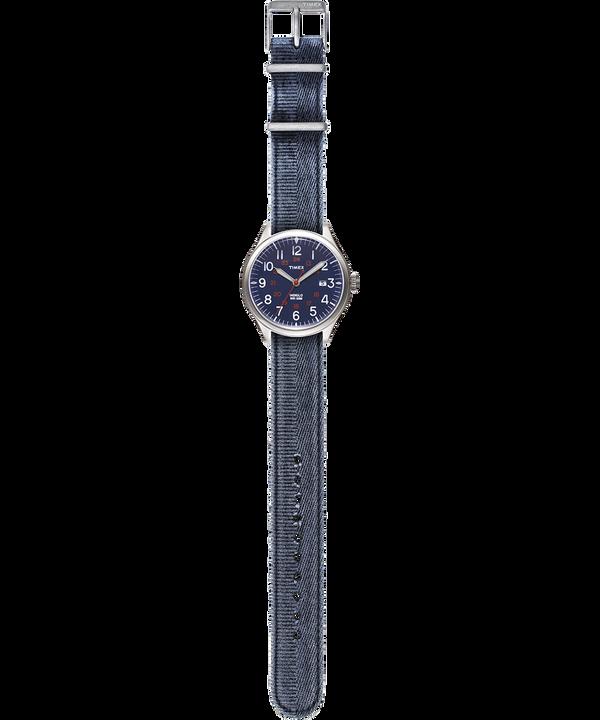 Zegarek Waterbury United z kopertą 38 mm i paskiem z dekatyzowanego materiału Stal nierdzewna/Niebieski large