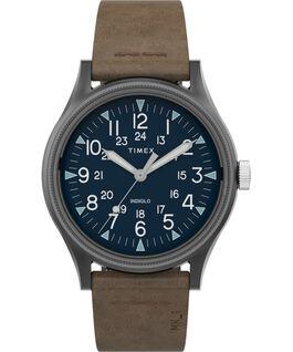 Zegarek MK1 ze stalową kopertą 40 mm i skórzanym paskiem Gunmetal/Brown large