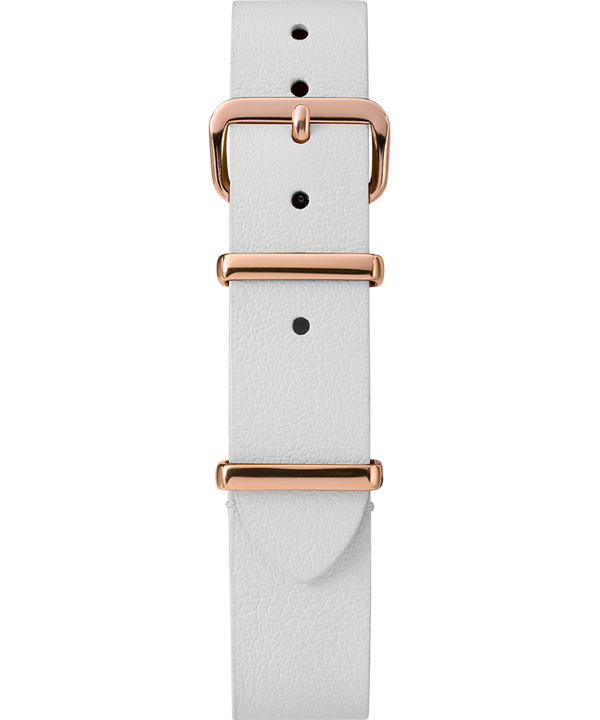 16mm Leather Slip-Thru Single Layer Strap Biały large
