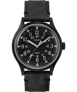 Zegarek MK1 ze stalową kopertą 40 mm i paskiem materiałowym Czarny large