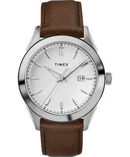 Zegarek męski Torrington z kopertą 40 mm i skórzanym paskiem Stal nierdzewna/Brązowy/Srebrny large