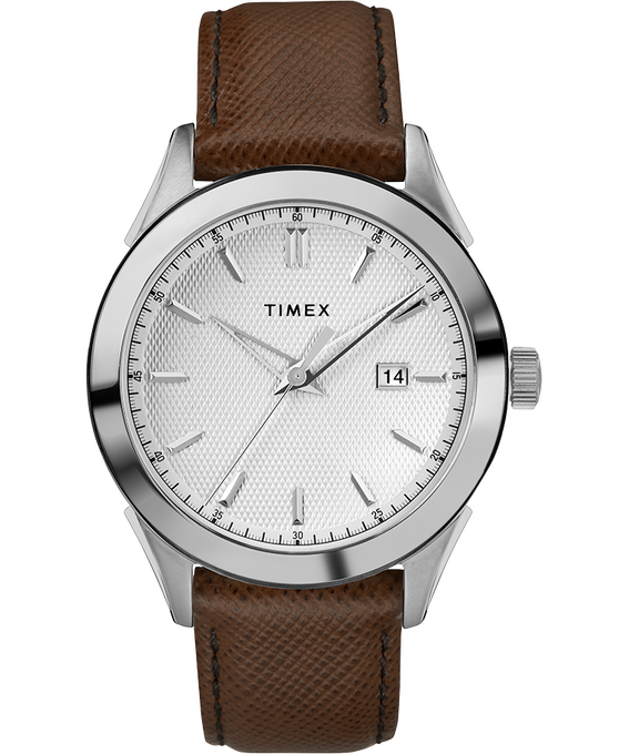 Torrington Mens 40mm Leather Strap Watch Stainless-Steel/Brown/Silver-Tone large