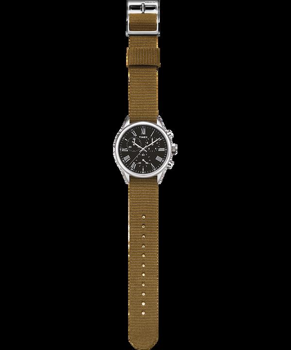 Zegarek Weston Avenue z kopertą 38 mm i paskiem materiałowym Stal nierdzewna/Zielony/Czarny large