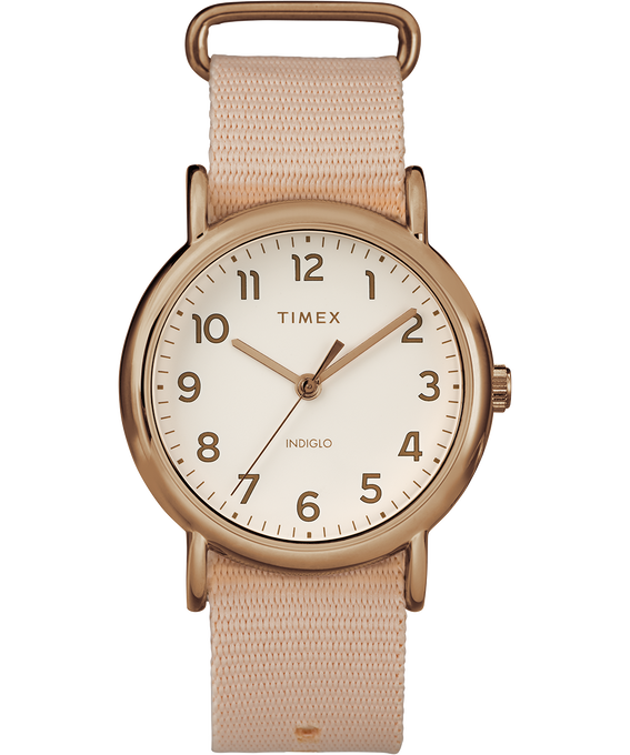 Weekender Pastels 38mm Nylon Strap Watch Rose-Gold-Tone/Pink/Cream large