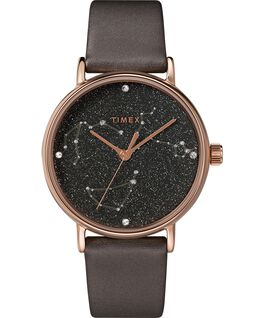 Celestial Opulence 37mm Textured Strap Watch Titanium/Brown-CAPRICORN,AQUARIUS,PISCES large