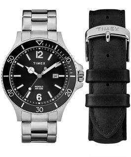 Zegarek Harboside z kopertą 43 mm, bransoletą i dodatkowym paskiem w zestawie prezentowym Chromowanyowy/Srebrny/Czarny large