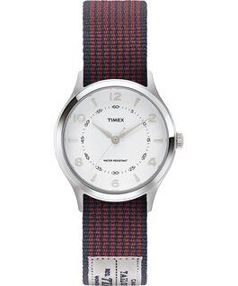 Zegarek Whitney Village z kopertą 36 mm i dwustronnym paskiem z grogramu Stal nierdzewna/Biały large