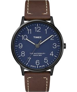 Waterbury 40mm Classic Leather Strap Watch Black/Brown/Blue large