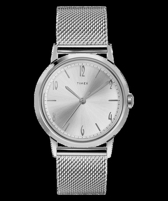 Zegarek Marlin z kopertą 34 mm, nakręcanym mechanizmem i siatkową bransoletą ze stali nierdzewnej Stal nierdzewna/Biały large