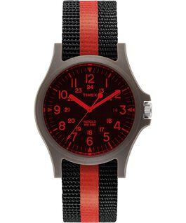 Zegarek Acadia 40 mm z paskiem materiałowym w paski i kolorowym szkiełkiem Zielony/Czarny large