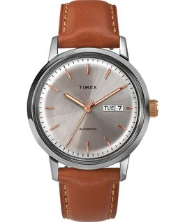 Zegarek Marlin® Automatic 40 mm z paskiem skórzanym i datownikiem Stal nierdzewna/Brązowy/Kremowy large