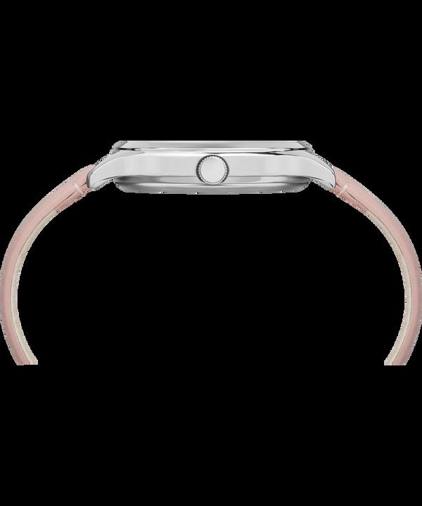 Zegarek Crystal Bloom z kopertą 36 mm i skórzanym paskiem Chrome/Pink large