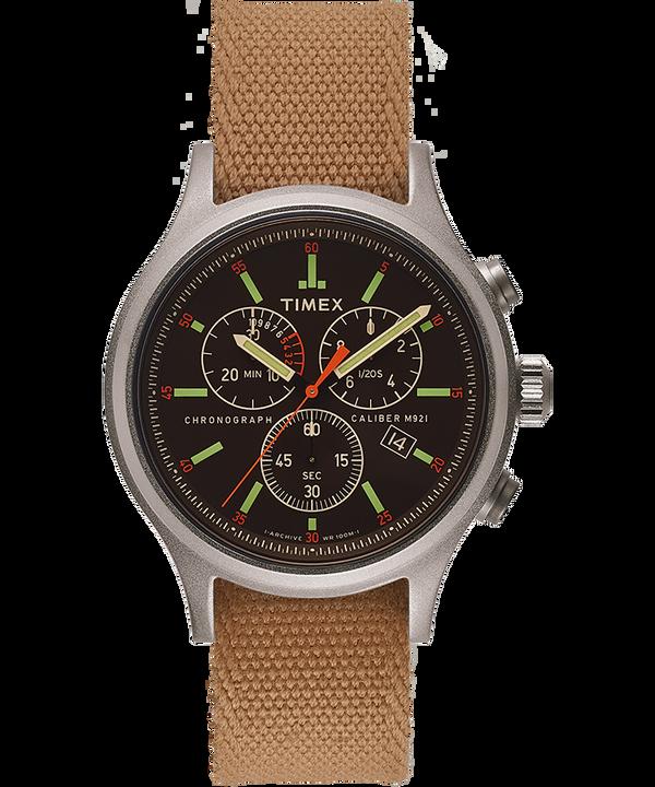 Zegarek Allied Chronograph z kopertą 42 mm i dwustronnym paskiem materiałowym z detalem odblaskowym Srebrny/Czarny large