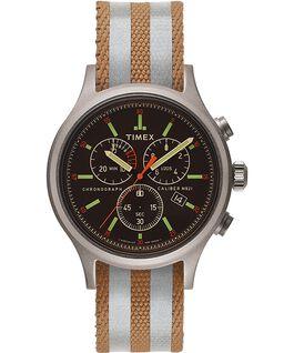 Zegarek Allied z kopertą 40 mm i dwustronnym paskiem materiałowym w paski z detalem odblaskowym Srebrny/Czarny large