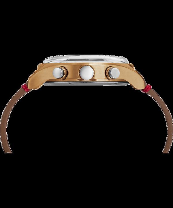 Zegarek MK1 z chronografem, stalową kopertą 42 mm i skórzanym paskiem Bronze-Tone/Brown/Black large