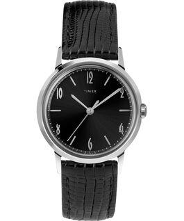 Zegarek Marlin z kopertą 34 mm i skórzanym paskiem, ręcznie nakręcany Black/Black/Silver-Tone large