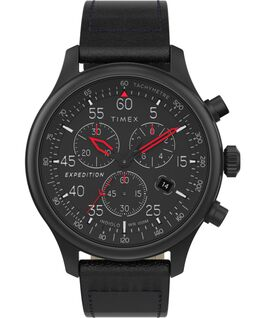 Expedition Field Chronograph 43mm Leather Strap Watch Black large