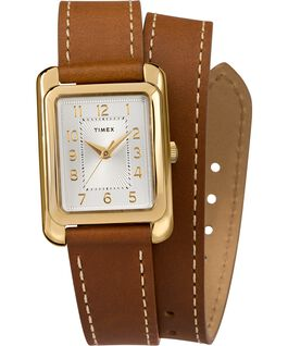 Addison Double Wrap 25mm Leather Strap Watch Gold-Tone/Brown/Silver-Tone large