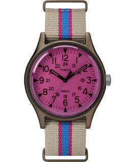 Zegarek MK1 California 40 mm z paskiem materiałowym Jasnobrązowy/Różowy large