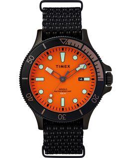 Zegarek Allied Coastline z kopertą 43 mm, obrotowym pierścieniem i materiałowym paskiem Czarny/Pomarańczowy large
