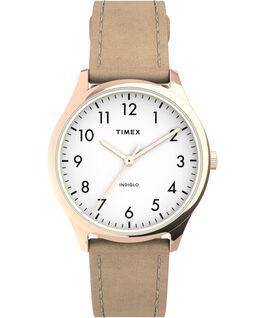 Zegarek Modern Easy Reader 32 mm z paskiem skórzanym Różowe złoto/Beżowy/Biały large