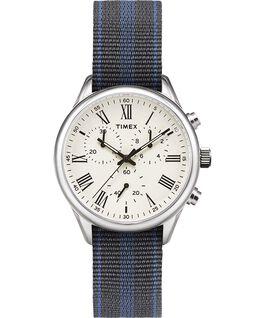 Zegarek Weston Avenue z kopertą 38 mm i dwustronnym paskiem z grogramu Stal nierdzewna/Kremowy large