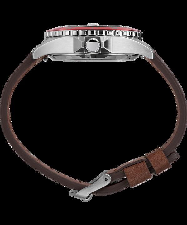 Zegarek Navi XL Automatic 41 mm z paskiem skórzanym Stalowy/Brązowy/Czerwony large
